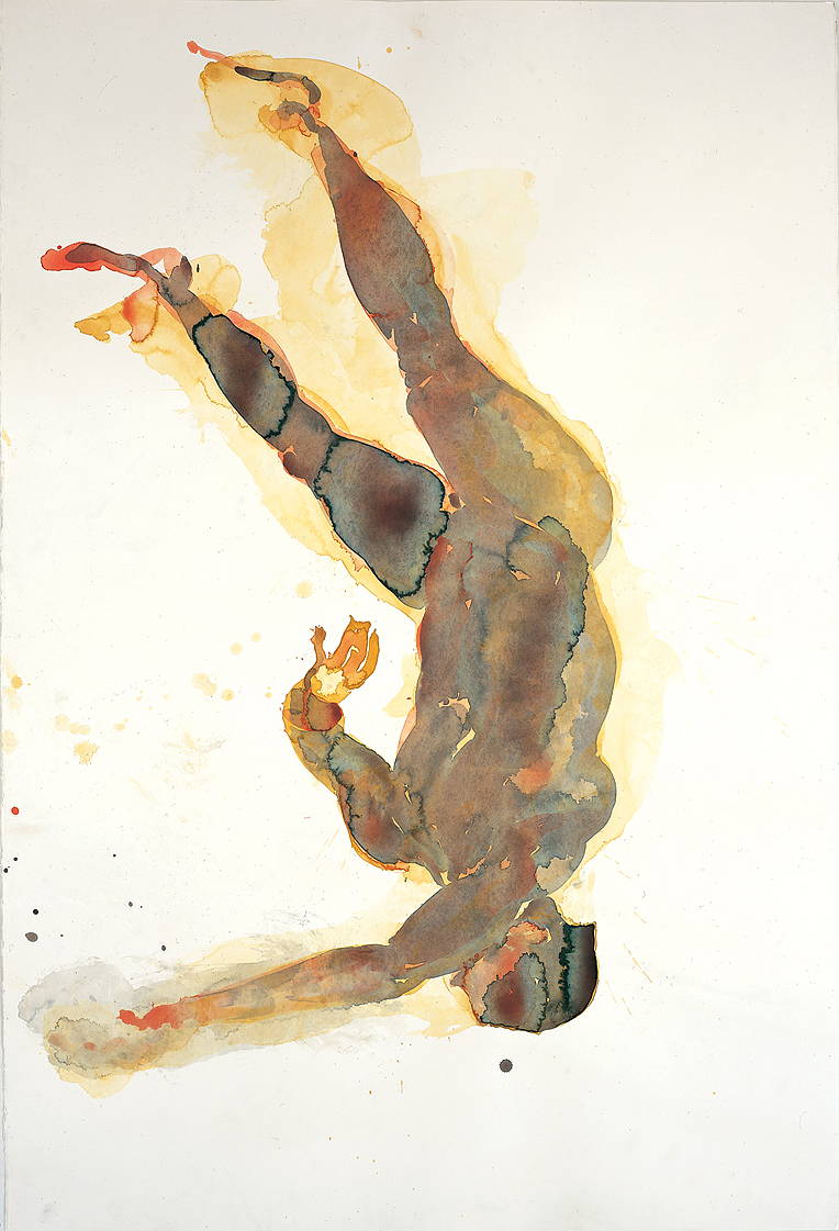 "Falling Figure #5, 2001, watercolor on paper, 60"" x 40"""