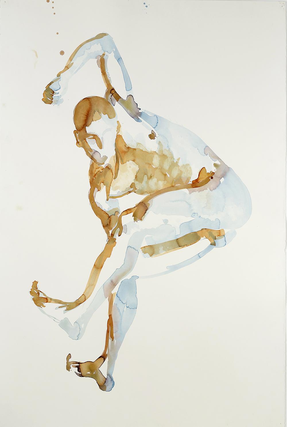 "Falling Figure #6, 2001, watercolor on paper, 59.75"" x 40.25"""