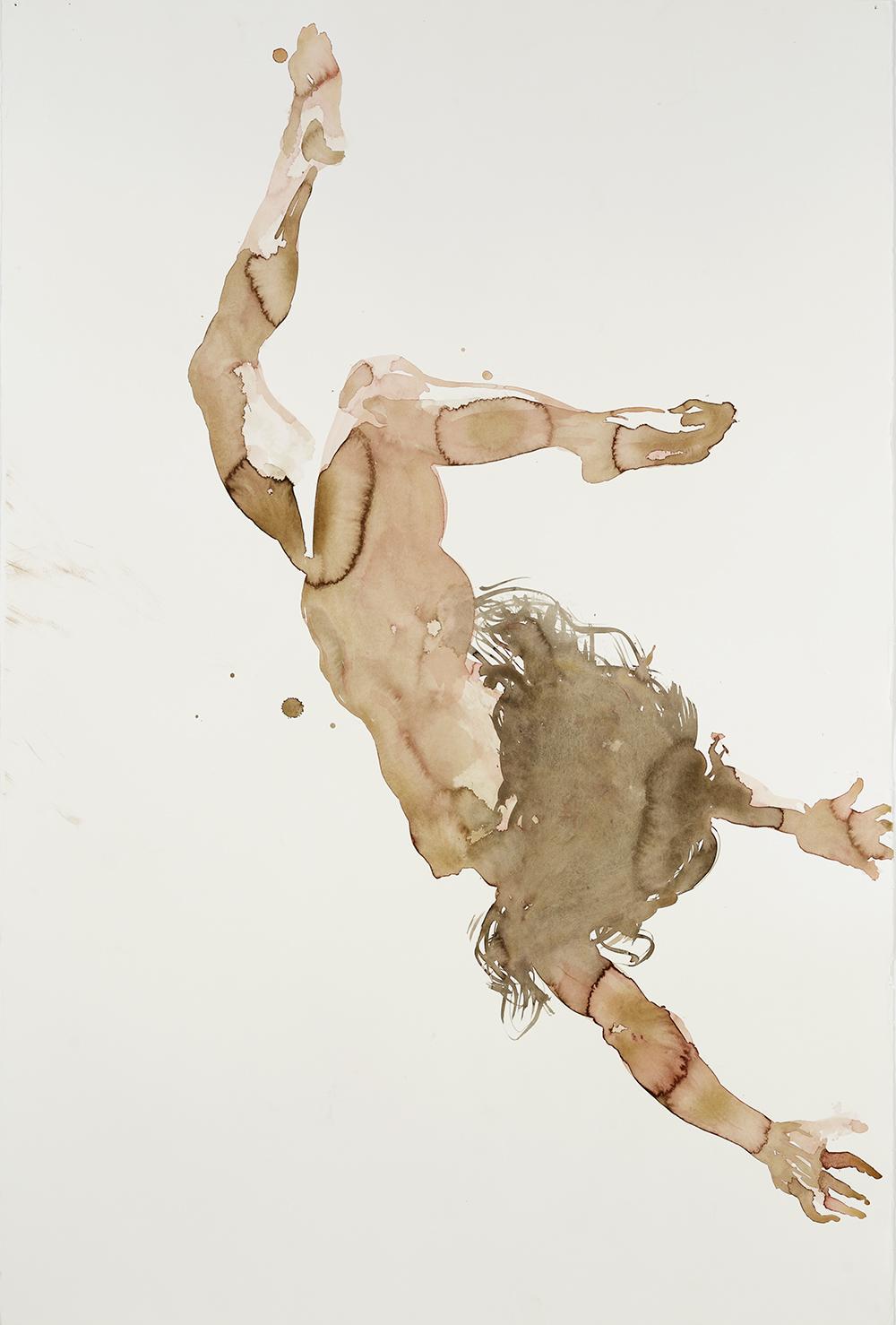 "Falling Figure #8, 2001, watercolor on paper, 59.75"" x 40.25"""