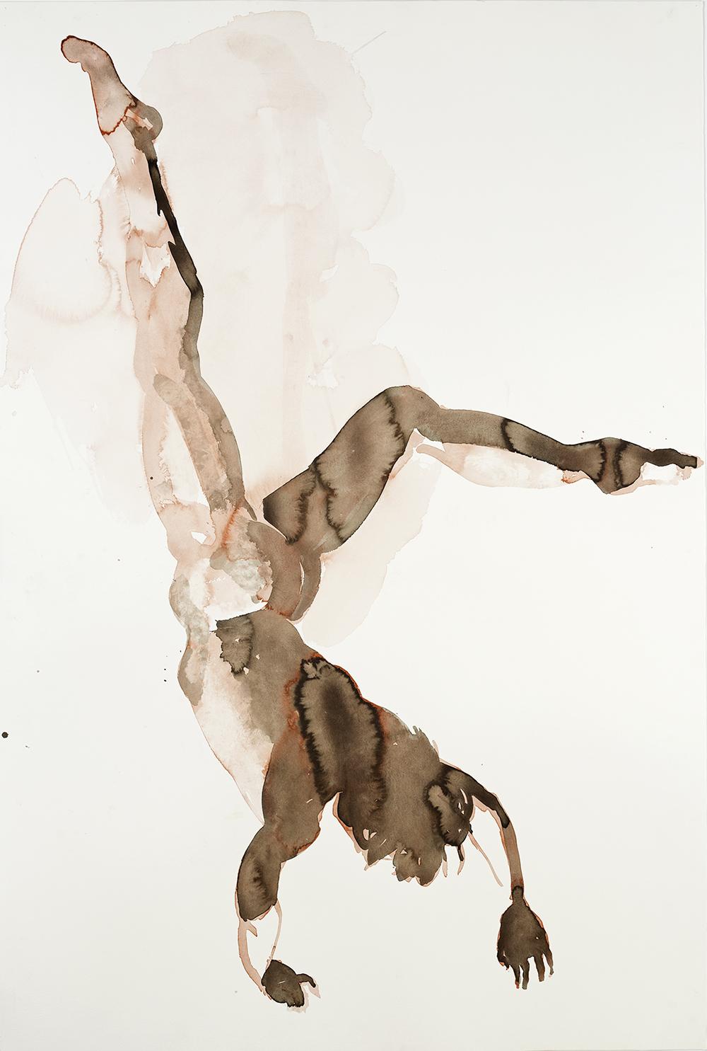 "Falling Figure #9, 2001, watercolor on paper, 59.75"" x 40.25"""