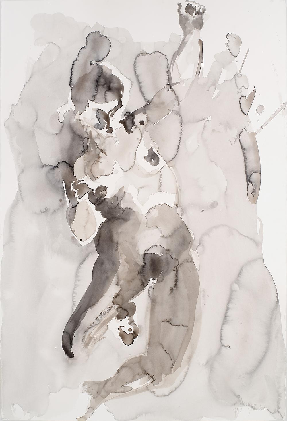 "Falling Figure #12, 2006, watercolor on paper, 60"" x 40"""