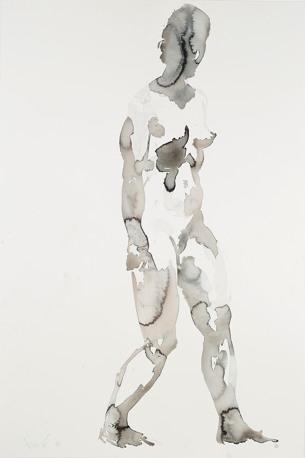 """Falling Figure (Stunned), 2006, watercolor on paper, 60"""" x 40"""""""