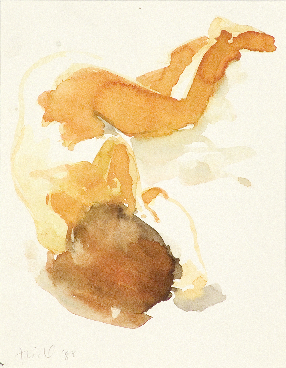 """Untitled, 1988, watercolor on paper, 9"""" x 7"""""""