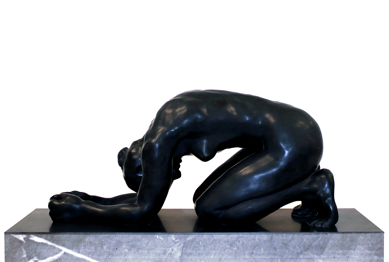 The Wait, 2019, Belgian black marble, 31 1/2 x 11 1/4 x 15 1/2 in