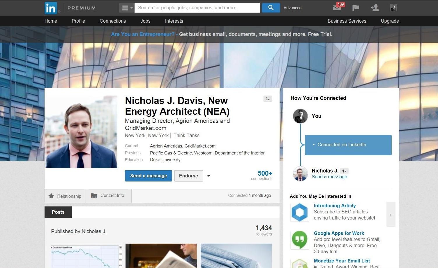 Nicholas J. Davis, NEA (After)