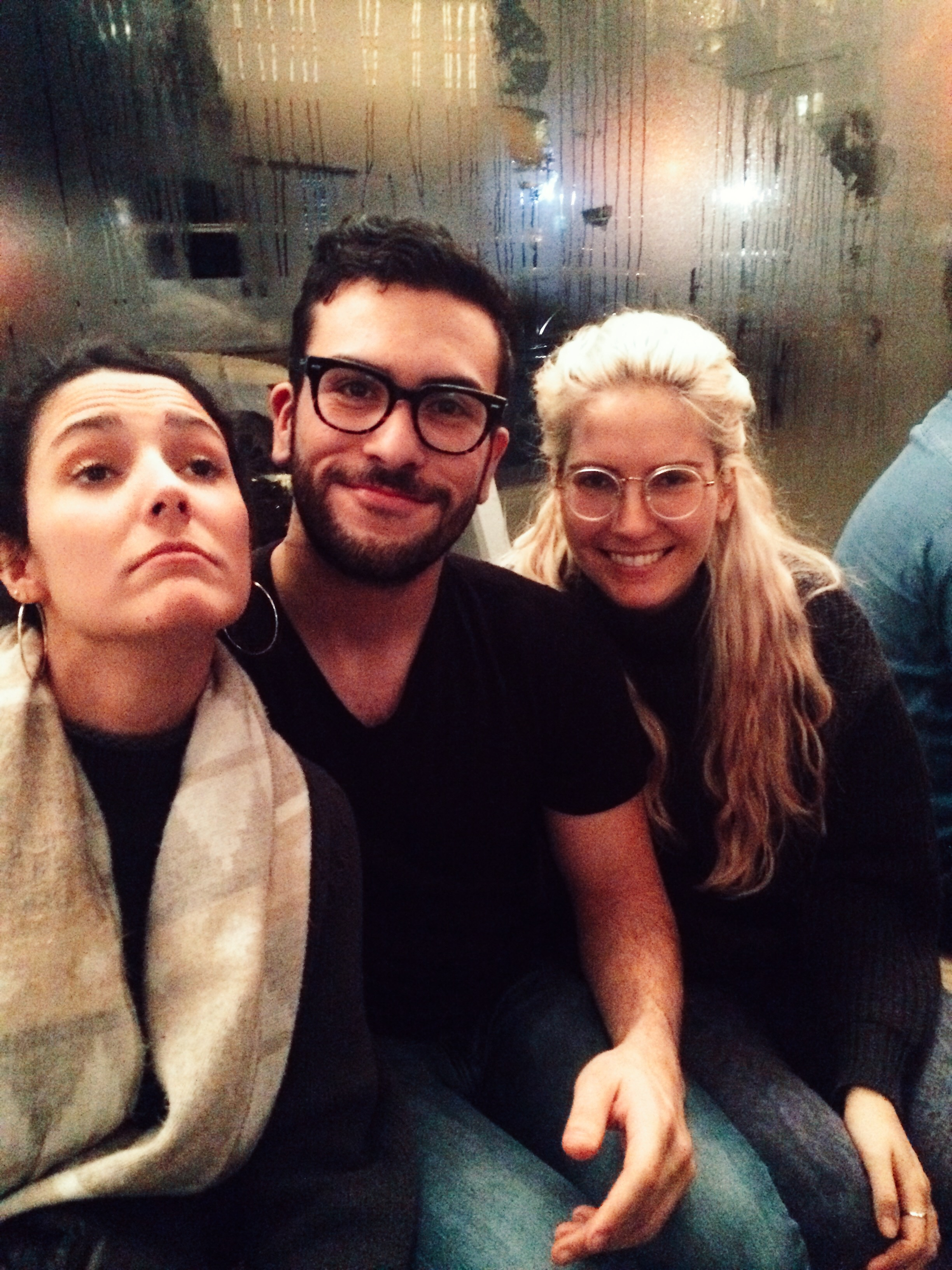 Viki Sanz, recent interviewee, Francisco M á rquez, assistant interviews editor, and Alisha Kaplan co- pr & web editor