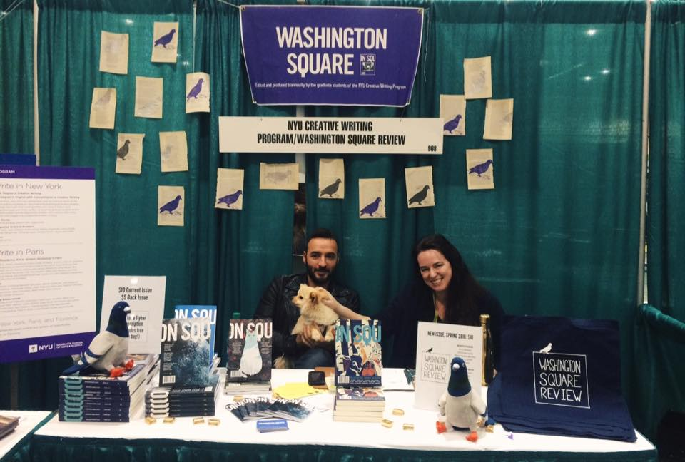 Angelo Nikolopoulos, Nico the dog, and Joanna Yas, Editor-in-Chief, at our booth.