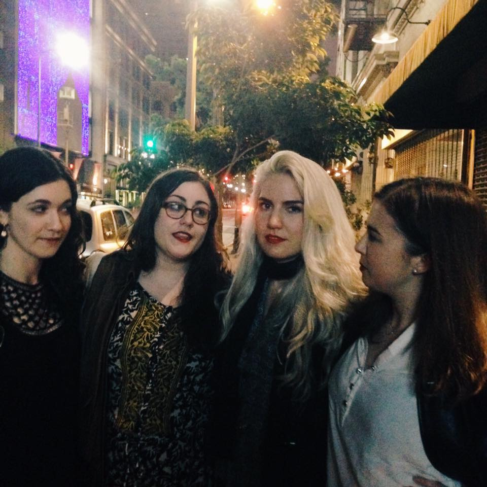 Outside the The Regent, where the Prufrock party was about to begin (hosted by the Poetry Foundation).  l to r: Alisa Koyrakh, managing editor;Laura Creste and Alisha Kaplan, web & pr editors; Linda Harris Dolan, poetry editor.