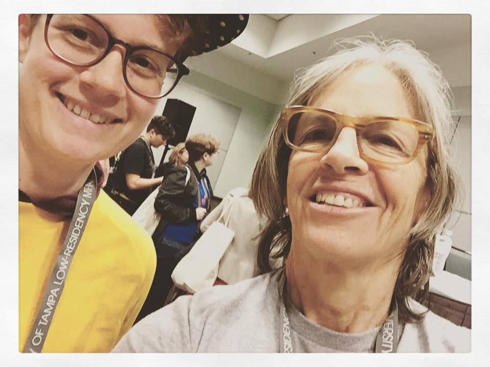 Jess Pane, assistant awards editor, with Eileen Myles!