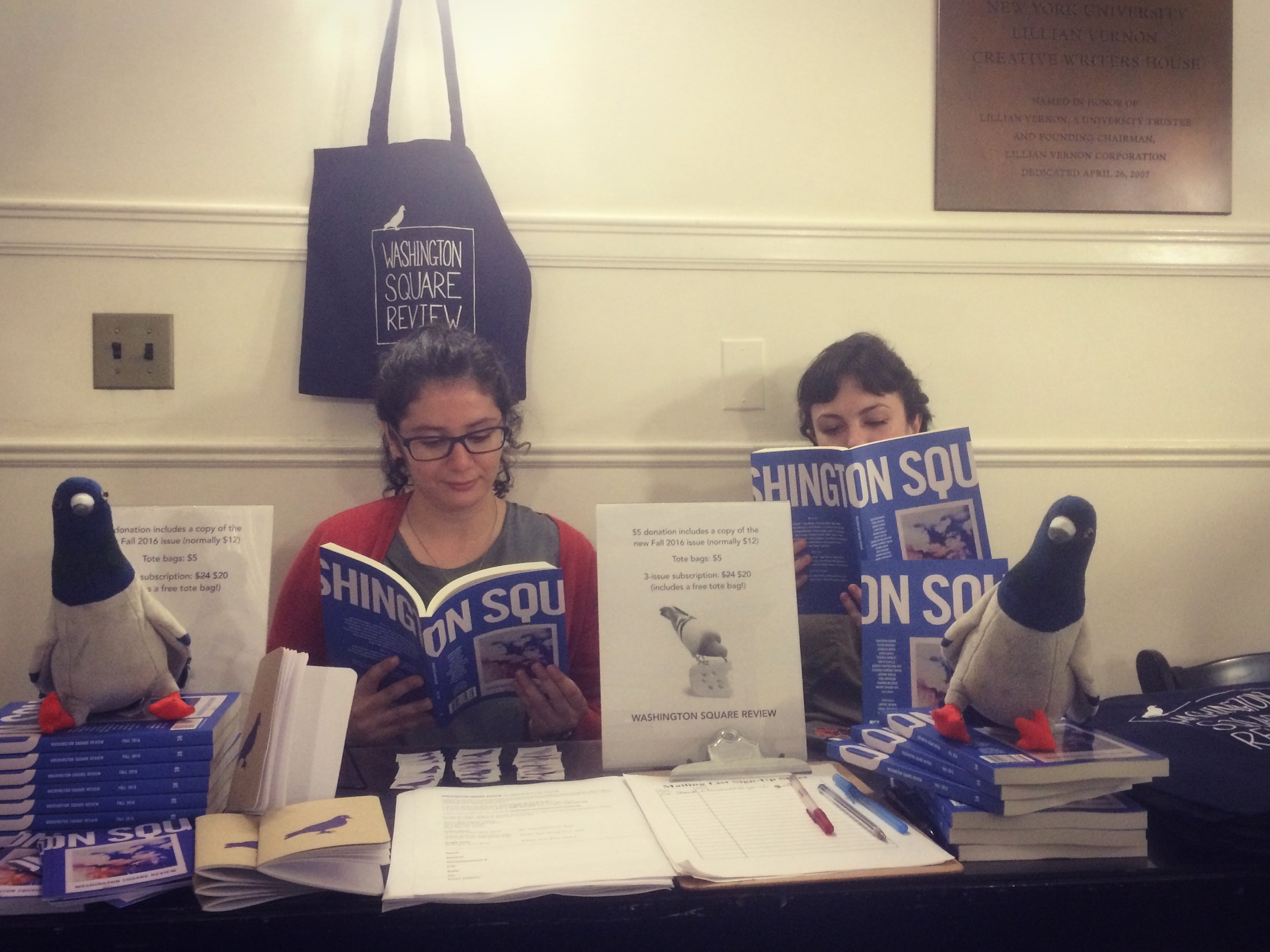 Fiction Editor Bruna Dantas Lobato and Assistant Poetry Editor Maggie Millner with issue 38 and lots of other new Washington Square goodies.