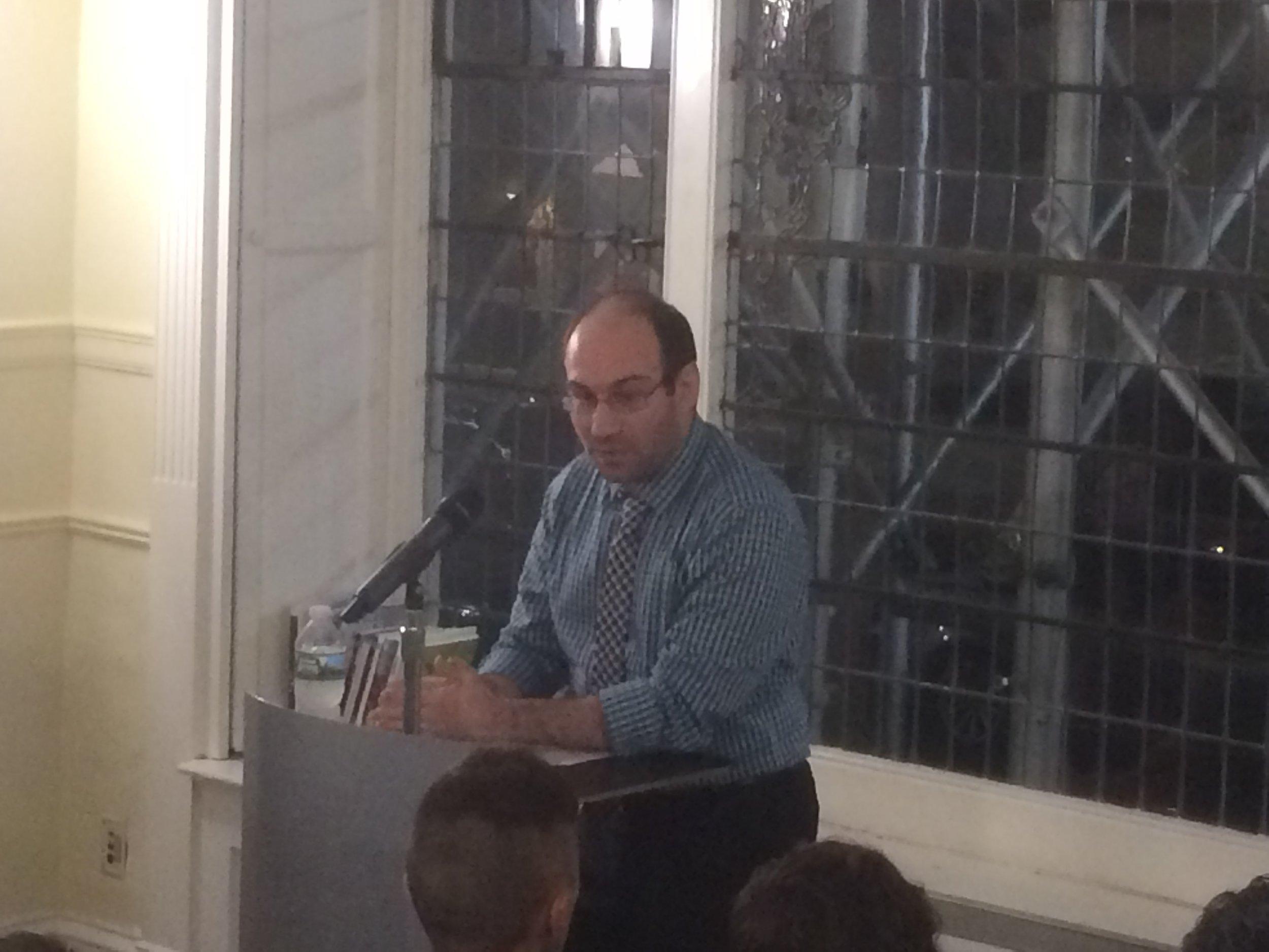 Former Fiction Editor, Mike Sarinsky, introducing Matthew Baker.