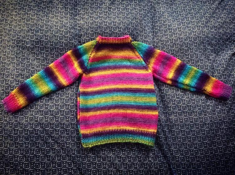 "Rainbow ""Inauguration aka WTF"" Sweater, knitted by Azzure Alexander"