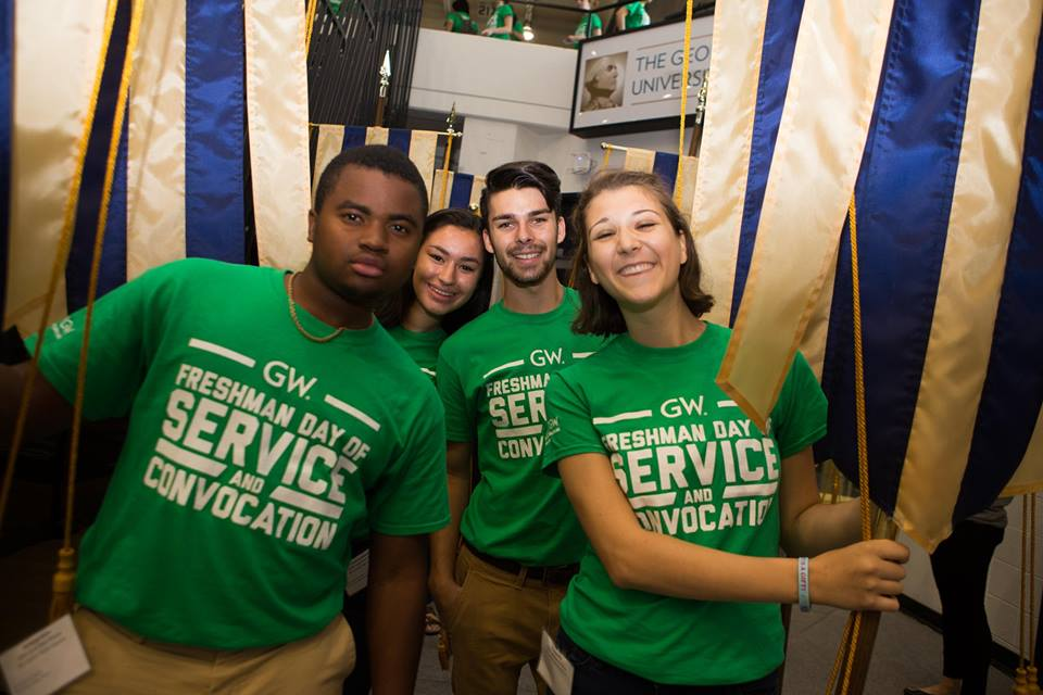 Civic House students selected as flag bearers for the 2016 GW Convocation ceremony