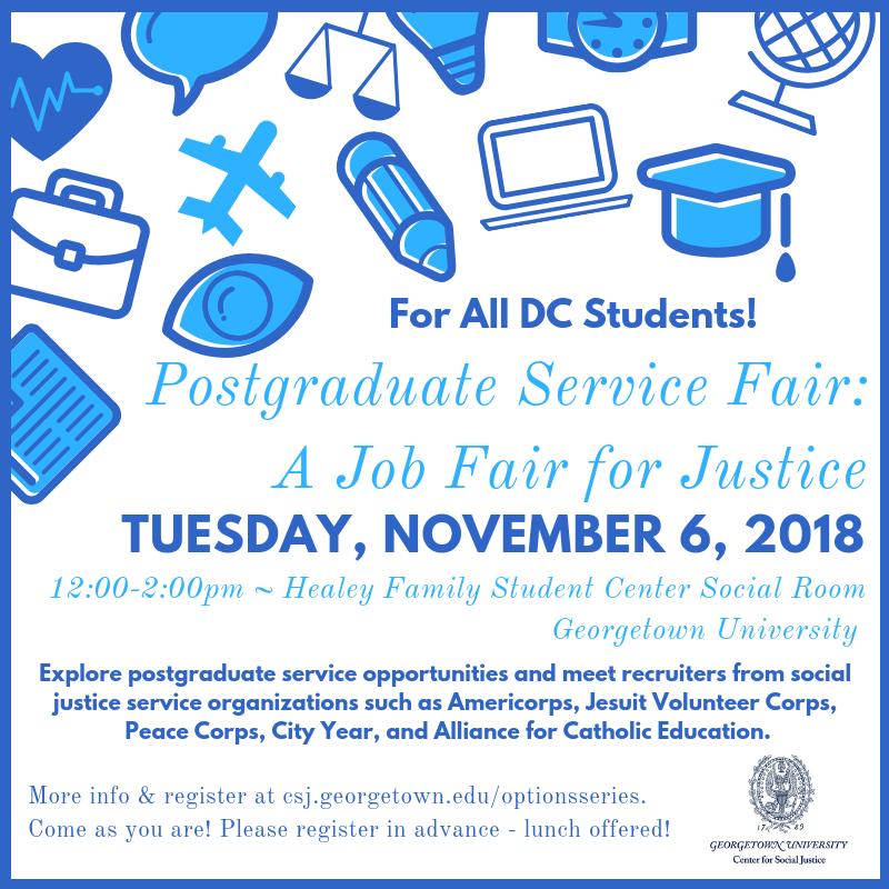 All DC students Postgraduate Service Fair November 6 2018.png