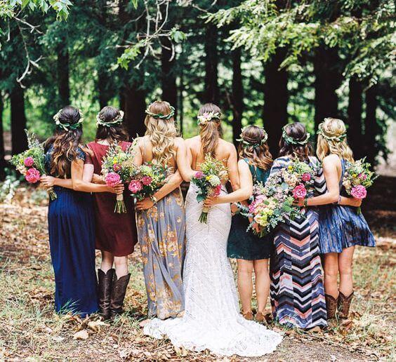 Boho-Bridesmaids-Blue-Mis-Matched-dresses.jpg