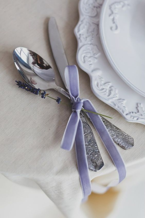 28-silverware-with-lavender-colored-velvet-ribbon-and-lavender-itself-looks-cute.jpg