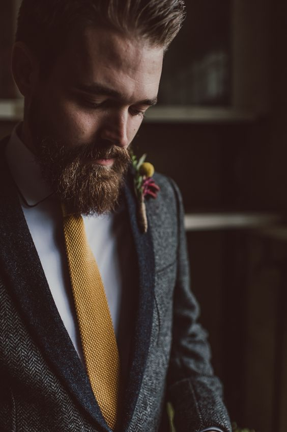 13-a-tweed-jacket-a-white-shirt-and-a-mustard-knit-tie-for-a-boho-groom-look.jpg