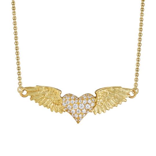 Pavé Flying Heart Necklace