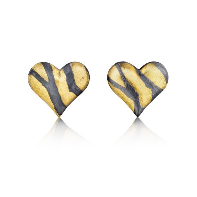 Inlay Heart Stud Earrings