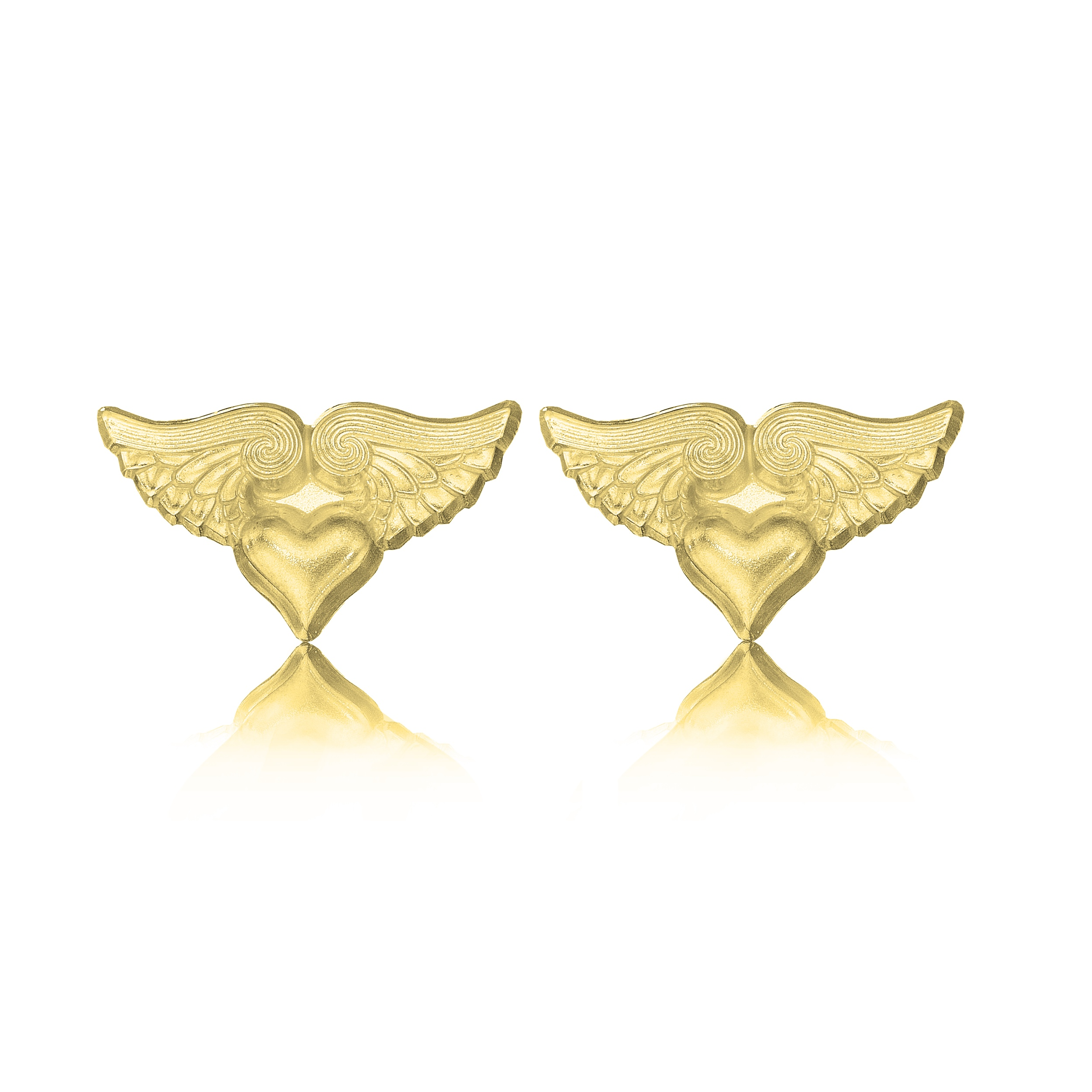 Winged Heart Stud Earrings