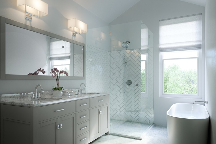 Clean Carerra and herringbone master baths (Carerra is a great alternative to Calcutta when you want that gorgeous all white look for 1/4 of the cost and honed materials give the all white bath a modern edge while also being more practical for use.
