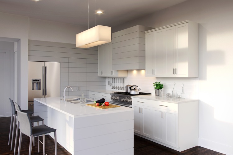 Custom cabinetry with shiplap accents and cesarstone counters for the ultimate in practical choices to get a light color stone.