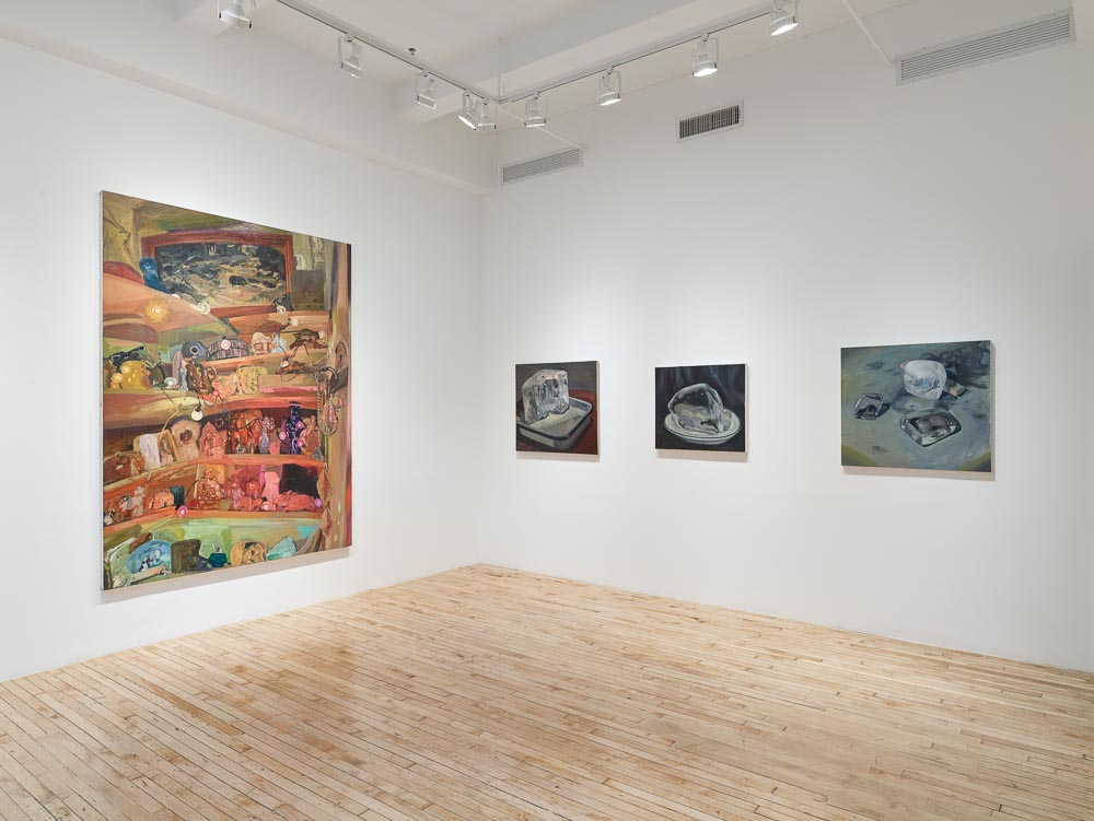 A large painting of an interior hangs on the left wall of the gallery, across from three smaller paintings of ice.