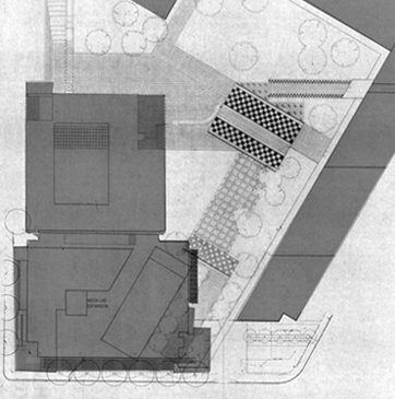 1985-87 Courtyard Project plan with overlay of the Media Lab expansion by Architect Fumihiko Maki, completed 2010