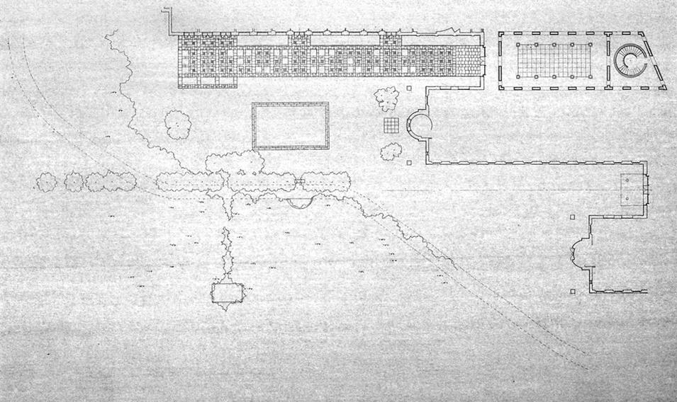 "Project site plan, graphite on vellum, 36 1/2"" x 53 3/8"""