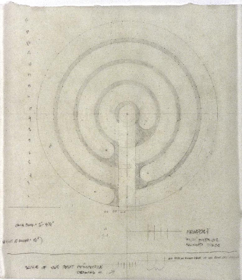 "Plan, graphite on white tissue, 10 1/4"" x 9 1/2 """