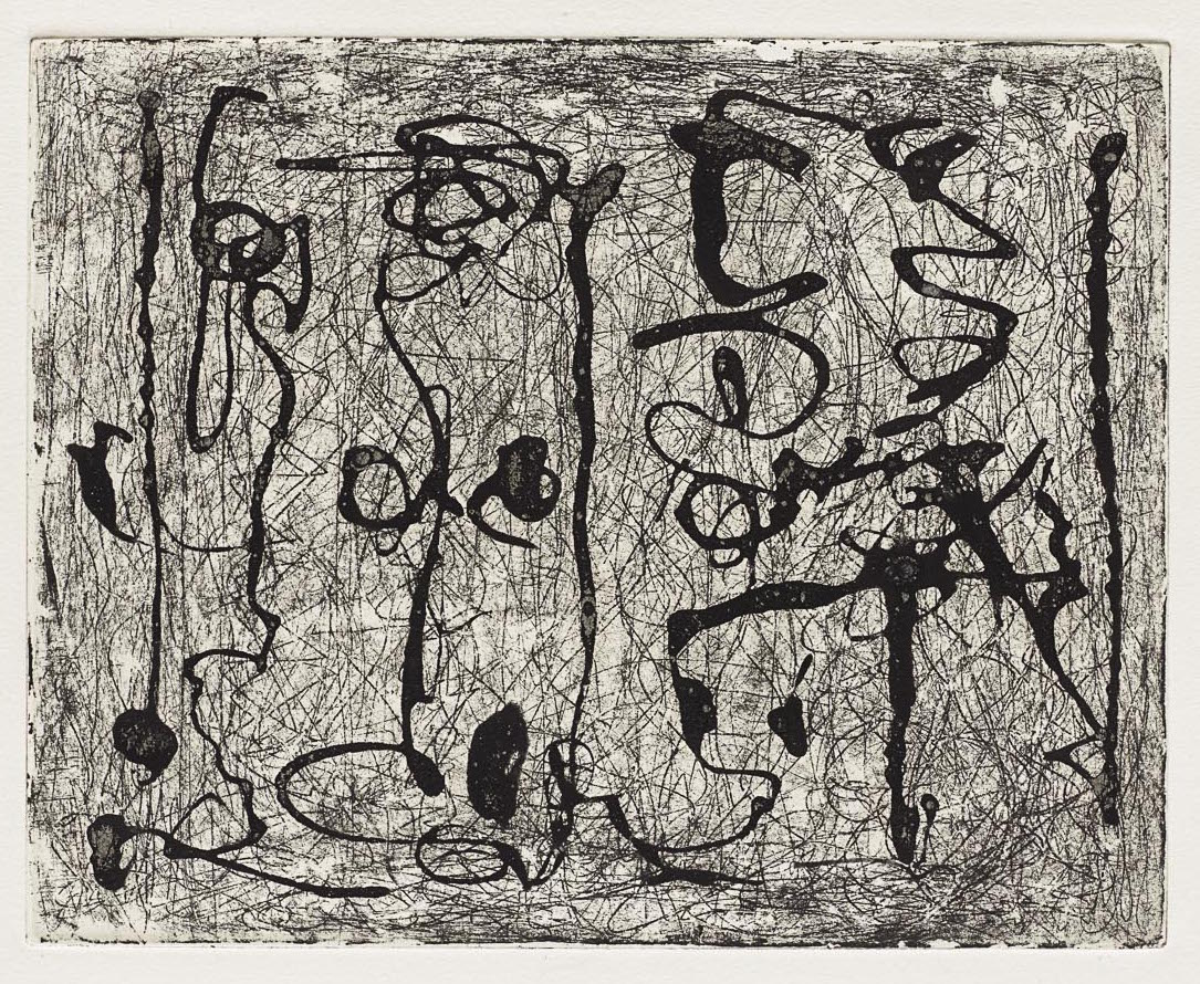 Black and white etching of organic, abstract linear shapes.