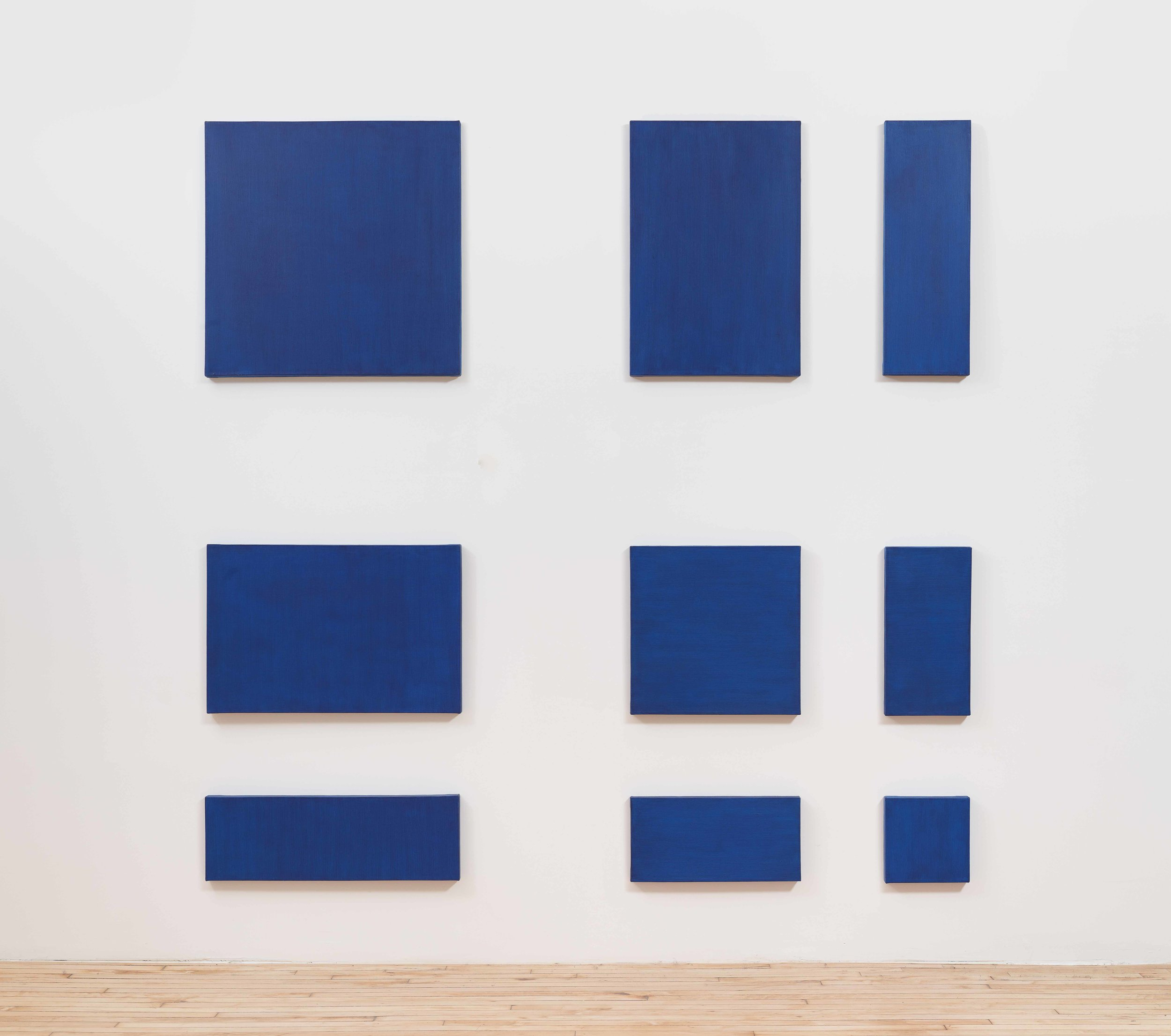 Blue square in top left corner with smaller rectangles of the same color radiating outward to form a grid.