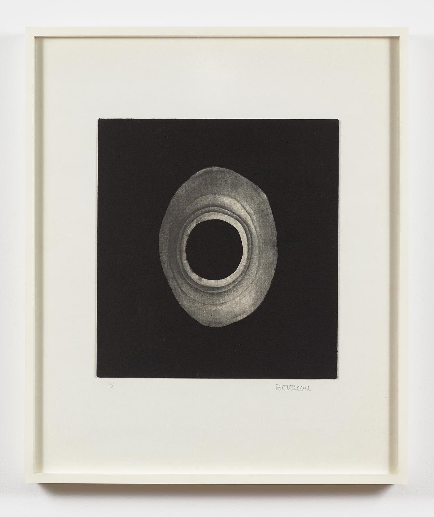 """Lee Bontecou  (b. 1931)  Untitled , 1968 Silk screen on fabric 14 x 13 inches  Part of the portfolio """"Ten from Leo Castelli,"""" which included works by Bontecou, Johns, Lichtenstein, Poons, Stella, and Warhol, among others."""