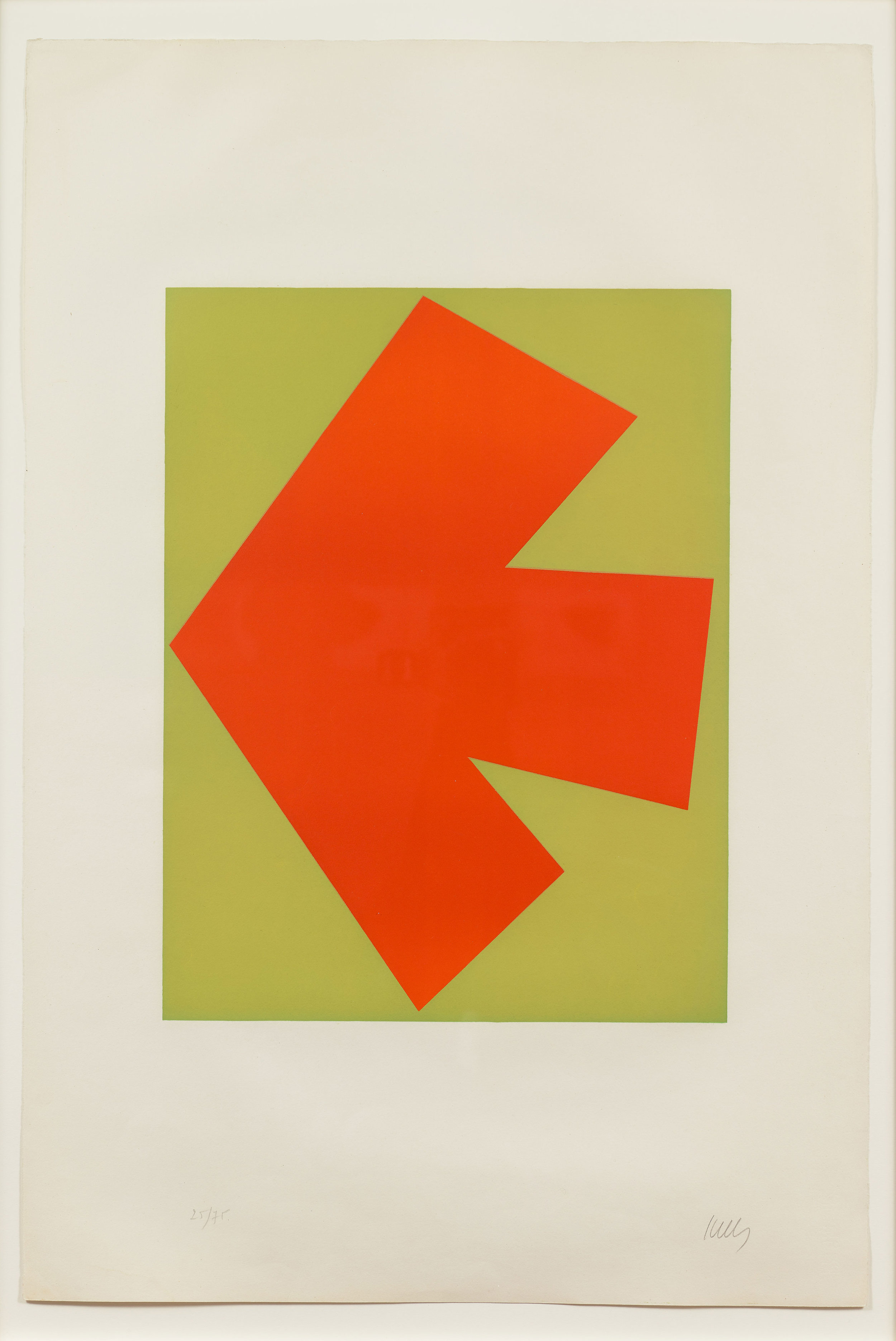 Ellsworth Kelly  (1923-2015)  Orange Over Green (Orange sur Vert), from the Suite of Twenty-Seven Color Lithographs , 1964 Lithograph in colors on Rives BFK paper, with full margins Plate: 20 3/8 x 15 5/8 inches Sheet: 35 x 23 5/8 inches