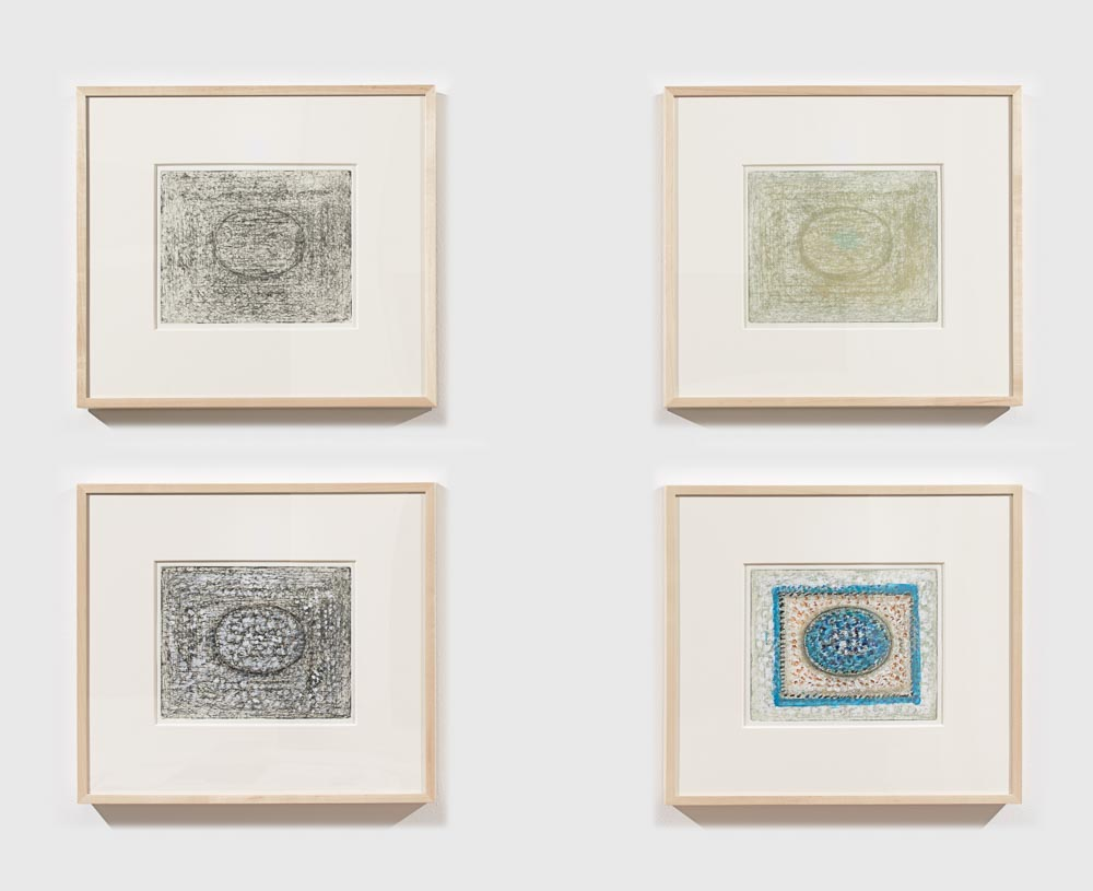 Four abstract expressionist etchings of an oval enclosed in a rectangle.  From top left to bottom right:  grey, lime green, black, and bright blue.