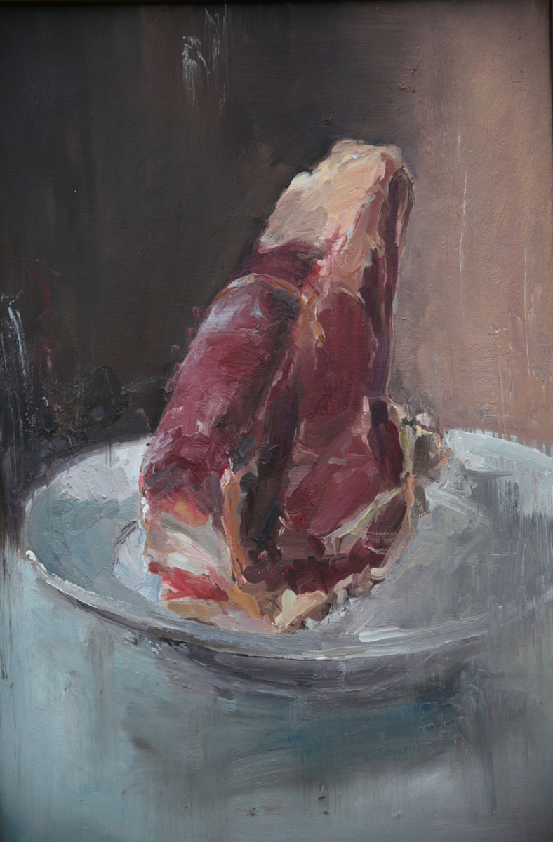Painterly depiction of a verticle Greek steak on a white plate.