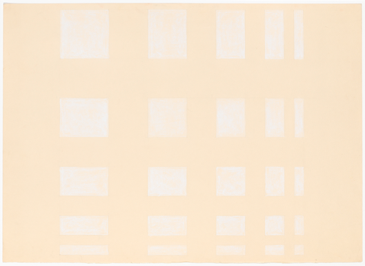 White geometric shapes in a grid on a pale surface.