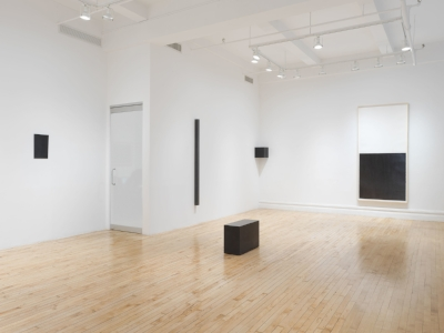 Installation of Susan York's  New and Recent Worki  at the gallery. Includes geometric sculptures in graphite as well as a drawing.