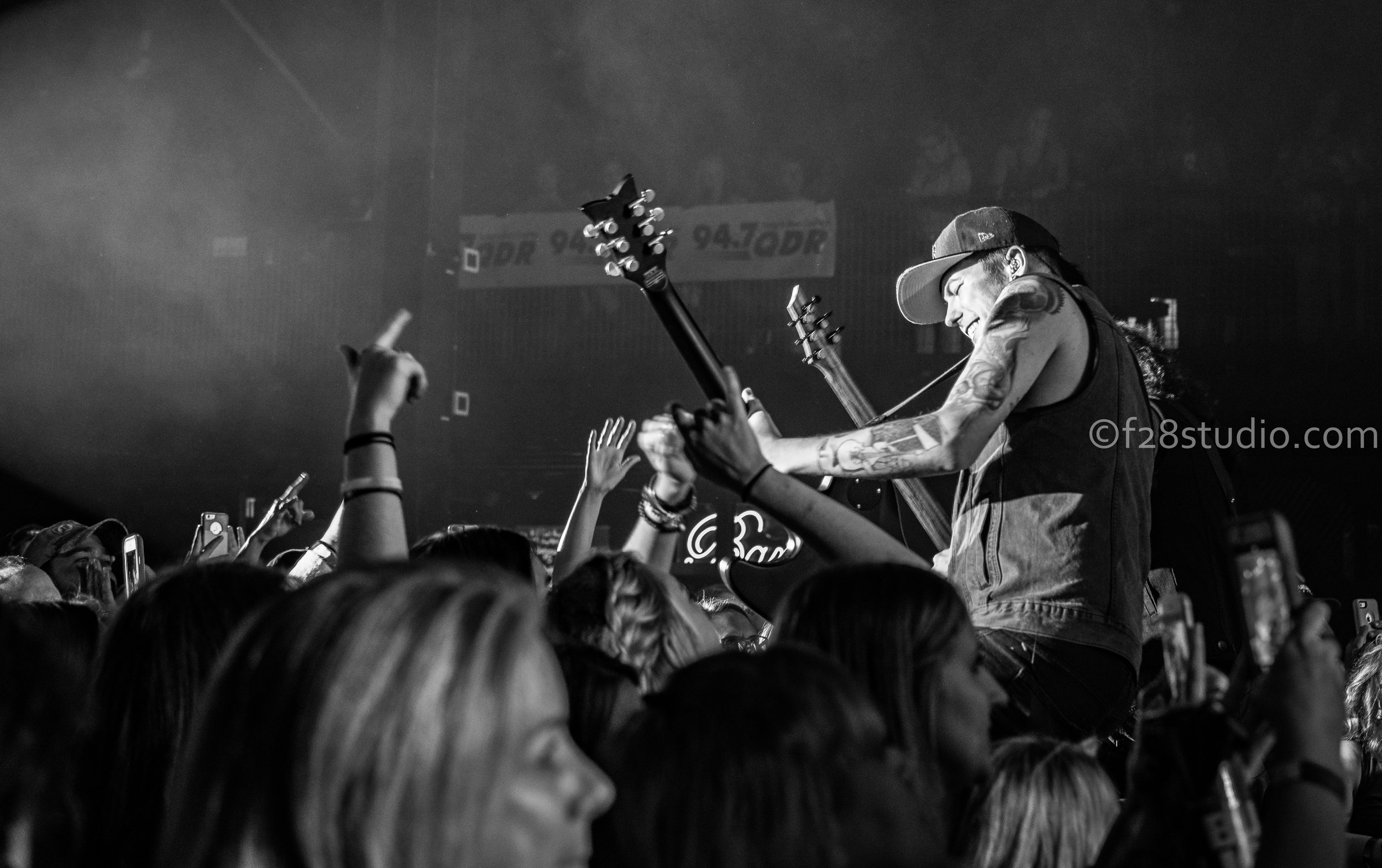 Chase Rice band mates ripping solos while in the crowd.
