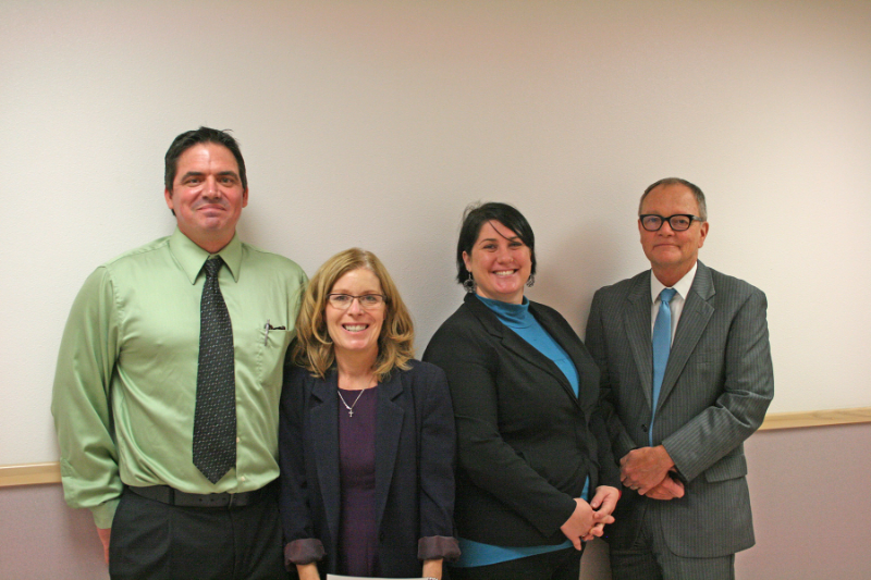 (L-R) Telecare North Sound E&T Leadership Staff:  Joel Lancaster ,   Director of Nursing   ;    Melinda Welchart,    Director of Social Work;    Brittany Lawler,    Clinical Director; and  Gregg VonFempe , North Sound E&T Administrator,    at the North Sound E&T open house on Wednesday, September 9, 2015.