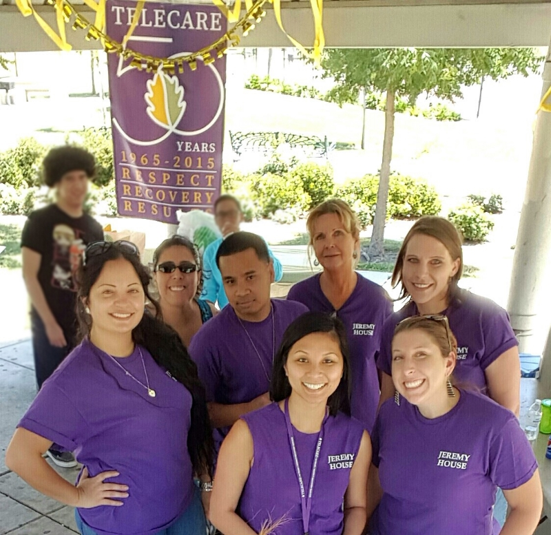 (L-R) Jeremy House staff:  Thuy Huyhn , LPT; Melissa Planas , Clinician; Jessica Reiland , Residential Counselor/Peer Specialist; Gayle Henderson, Residential Counselor; Olivia Mattus , Residential Counselor,   at the TEIR Community BBQ on September 11, 2015.