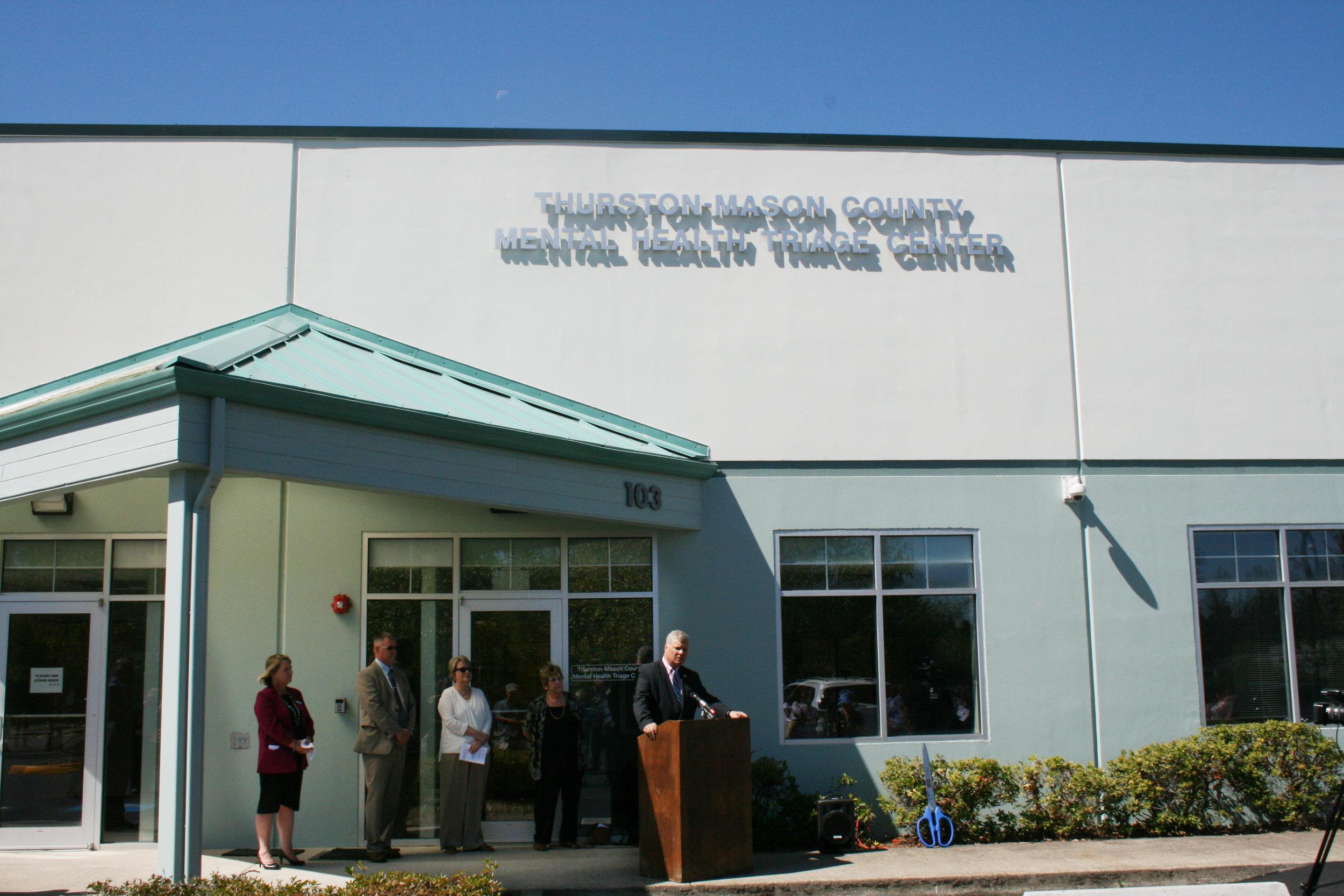 Mason County Commissioner  Bud Blake  speaks at the Thurston Mason Crisis Triage open house.
