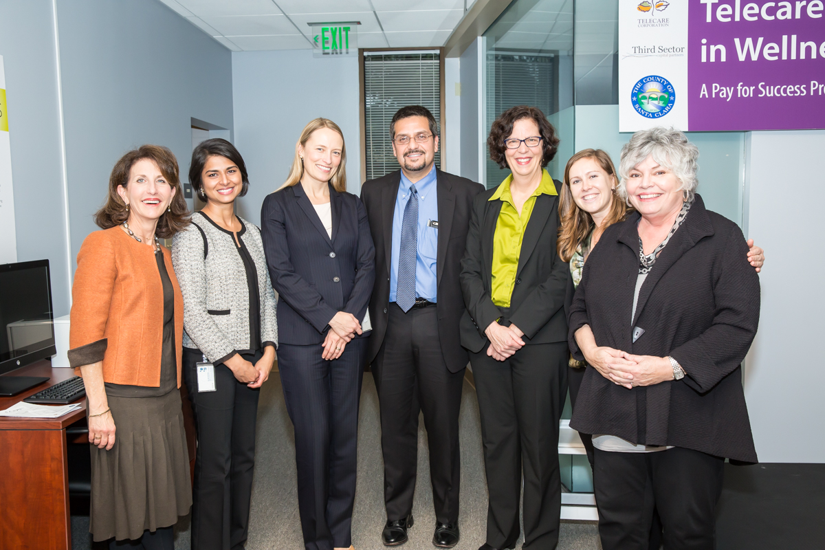 (L-R)  Anne Bakar , President and CEO of Telecare;  Kavita Narayan , Deputy County Counsel for Santa Clara County;  Greta Hansen , Chief Assistant County Counsel for Santa Clara County;  Miguel Marquez , Chief Operating Officer for Santa Clara County;  Faith Richie , Senior Vice President of Development at Telecare;  Toni Tullys , Director of Behavioral Health Services for Santa Clara County; and  Caroline Whistler , President and Co-Founder of Third Sector Capital Partners, Inc., at the Telecare Partners in Wellness Open House on February 8, 2017.