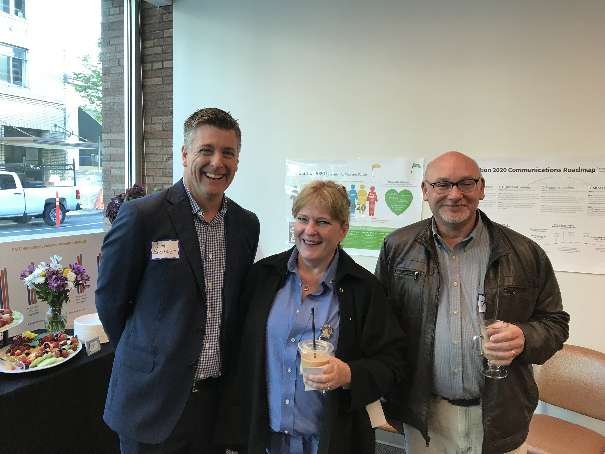 Jim Sechrist, Regional Director of Operations at Telecare; Andrea Shetzline; Neal Rotman, Interim Deputy Director, Multnomah County MH and Addiction