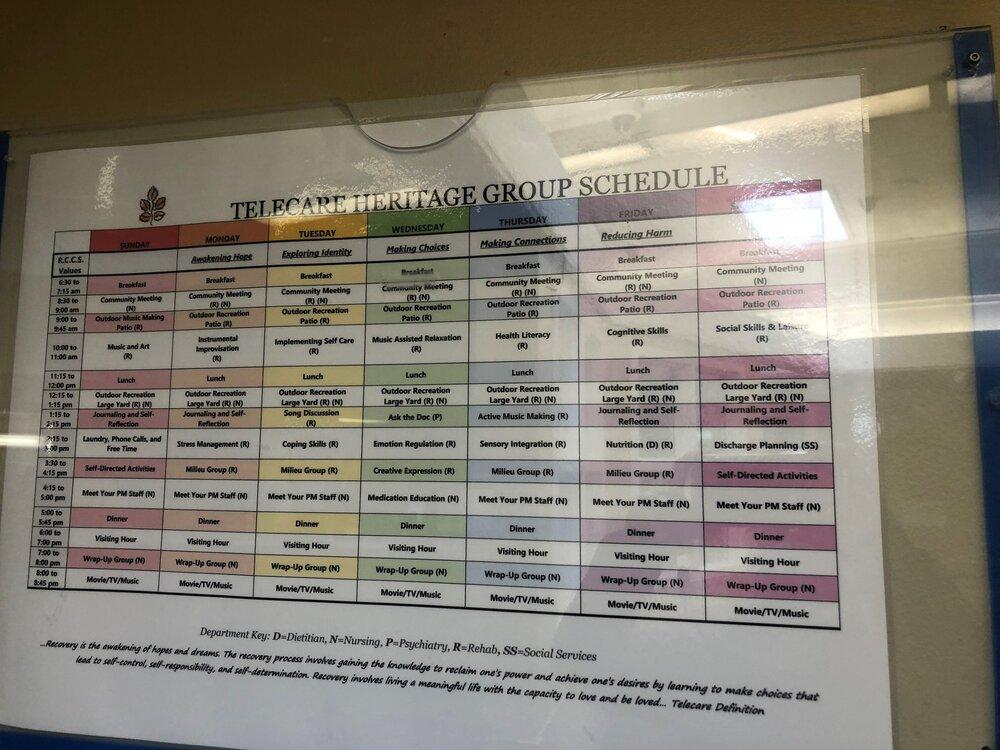 Heritage Schedule of Groups