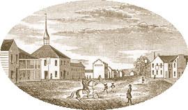Drawn by Henry Howe in 1846   Central View in Piketon