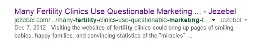 "On the first page of Google search results for the term, ""fertility marketing""."