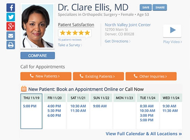 A completed physician profile looks much more professional.