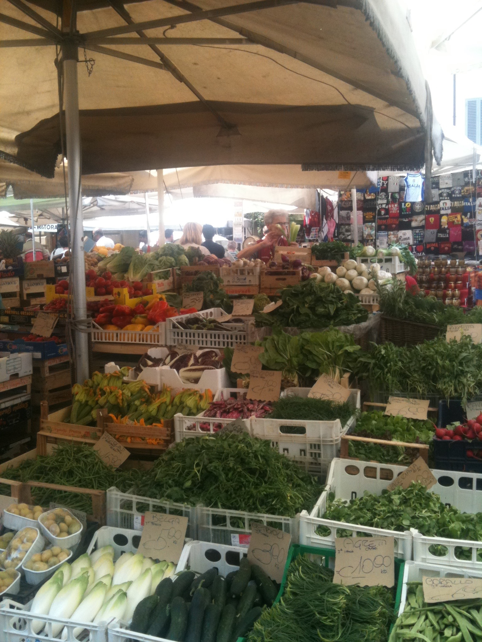 Farmers Market in Rome, Italy sourcing food for the next leg