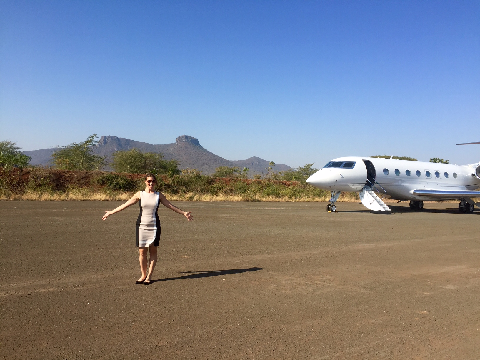 Certified SkyAngel, Kate on a flight to Mkuzi Mkuzi, Africa just four weeks after graduating from SkyAngels SKYacademy